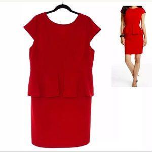 18W 2X CLASSY RED PEPLUM DRESS Christmas Plus Size